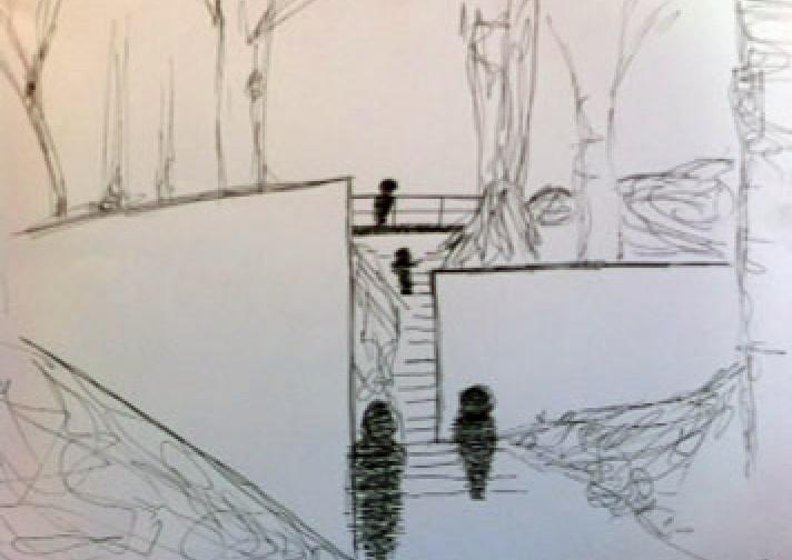 Skitser fra et hold elever, som har taget turen gennem Richard Serras Porten i slugten.